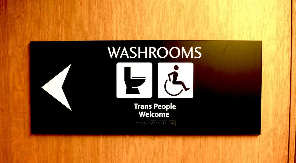 Trans people welcome washroom sign at City Hall (City of Vancouver)