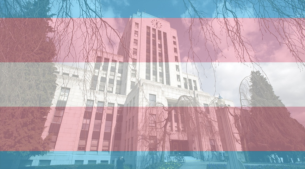 Vancouver city hall with transgender flag overlay shutterstock