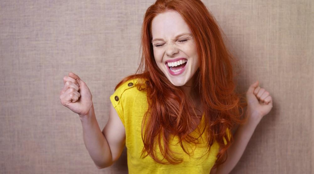 Girl laughing loudly