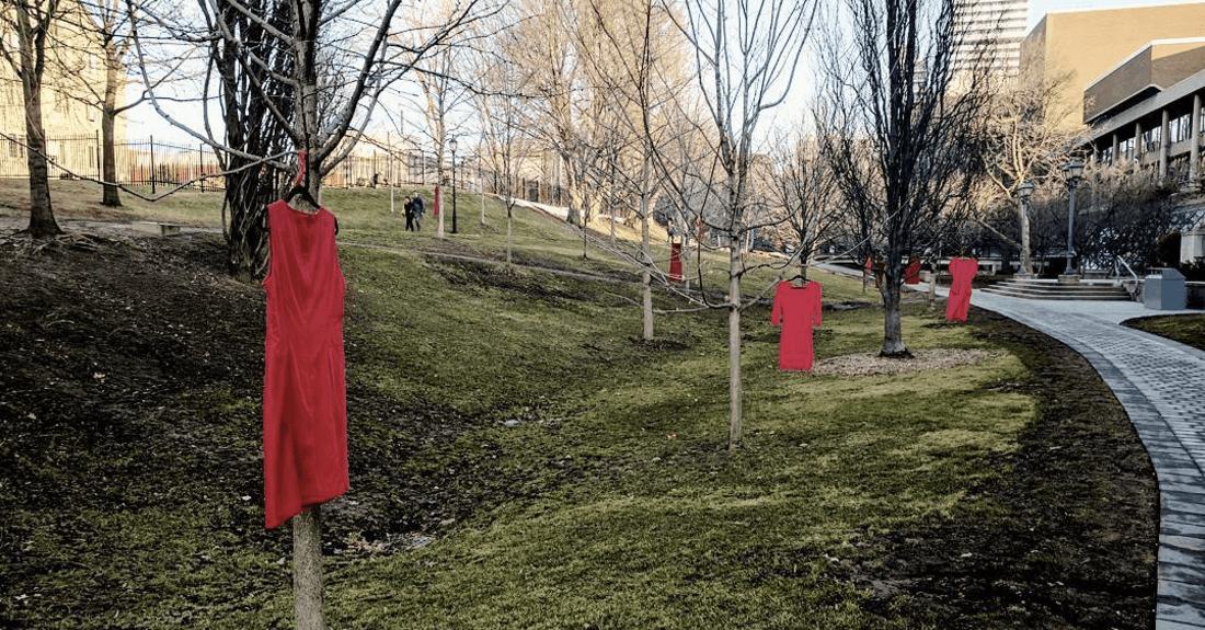 Here's the reason red dresses are draped around the University of Toronto (PHOTOS)