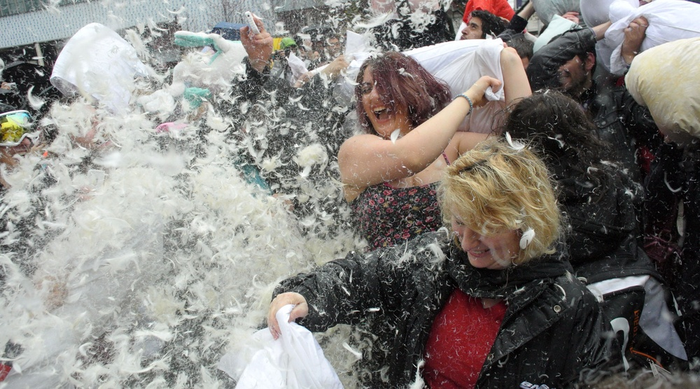 Massive pillow fight in Vancouver in April