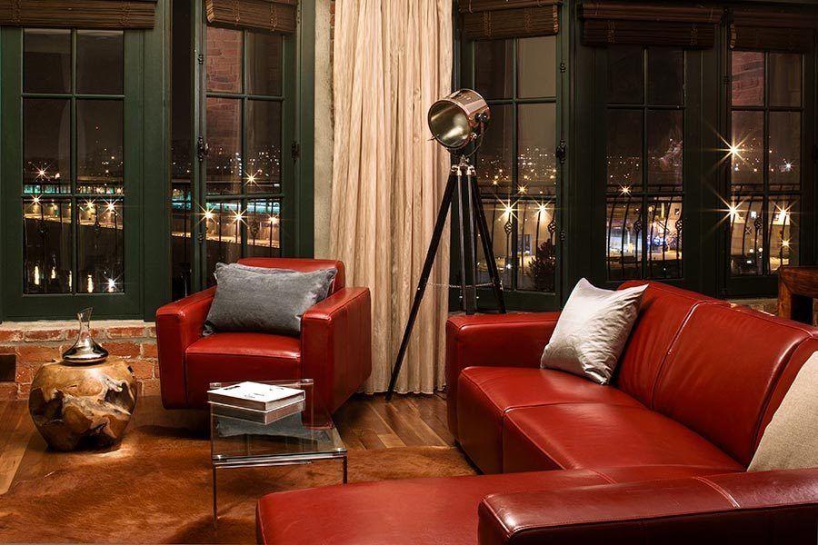 The living room in the two bedroom penthouse (Hotel Nelligan)