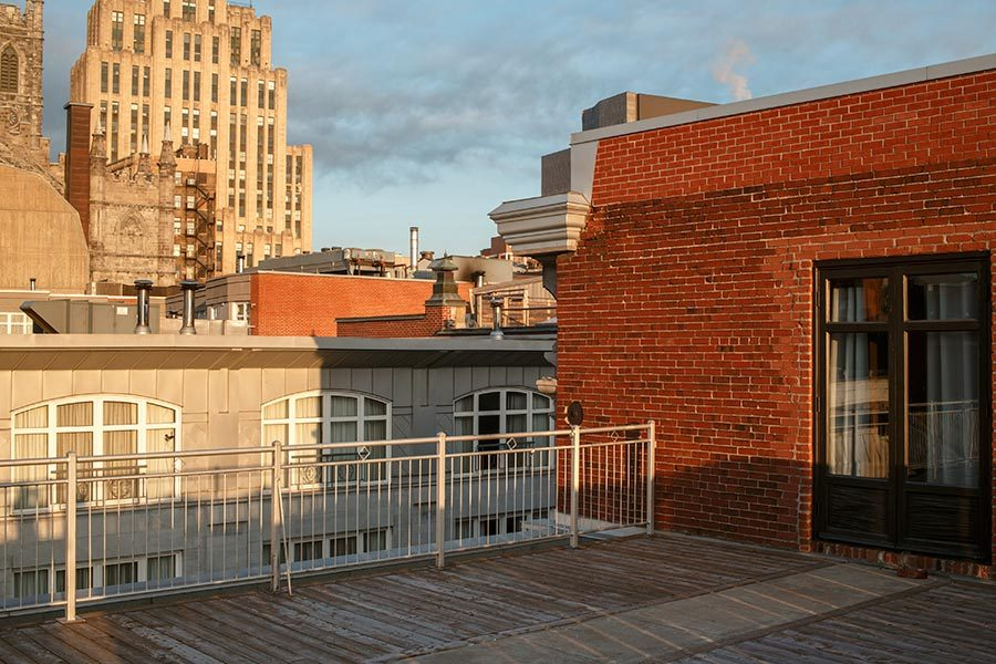 The private balcony of the two bedroom penthouse (Hotel Nelligan)