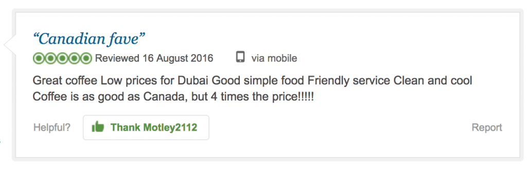 tim hortons dubai reviews