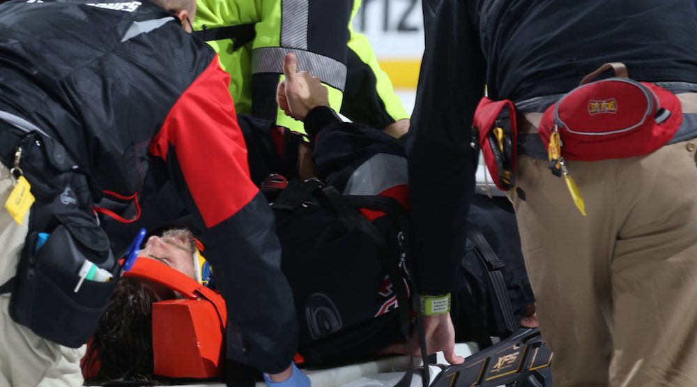 Eddie Lack in hospital after being stretchered off ice in Carolina