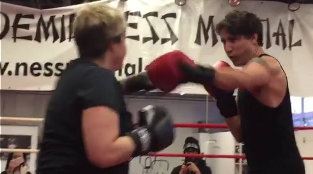 Justin Trudeau boxes with city councillor in Montreal gym