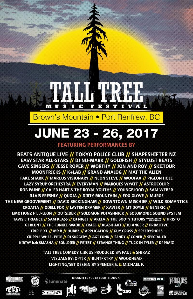 Tall Tree music festival 2017 lineup (Tall Tree Music Festival)