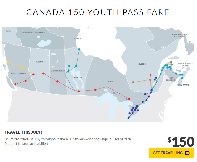 VIA Rail Canada 150 youth pass