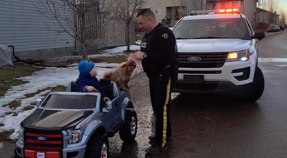 Canadian cop pulls over 3-year-old, gives him a speeding ticket
