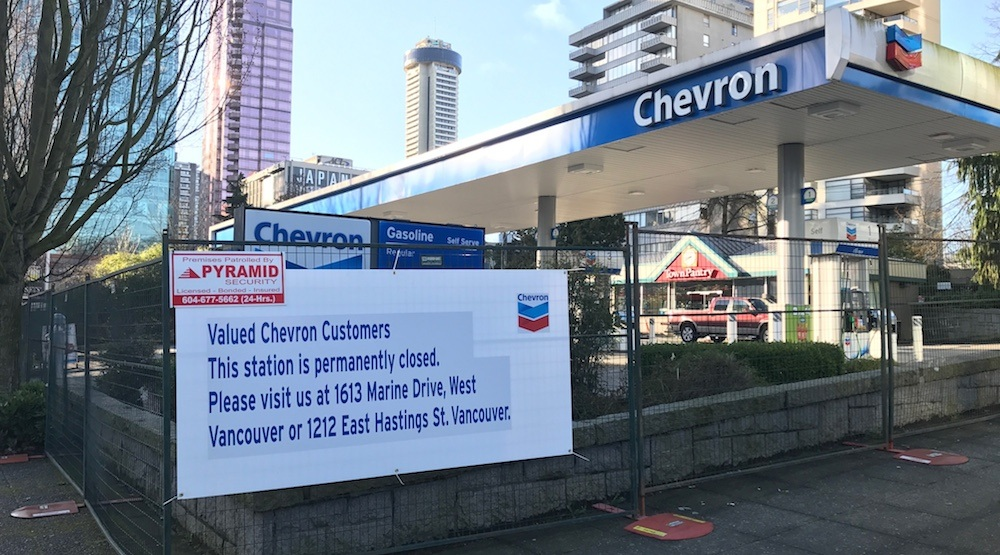 West Georgia Chevron gas station closes, leaving just one gas station in downtown Vancouver