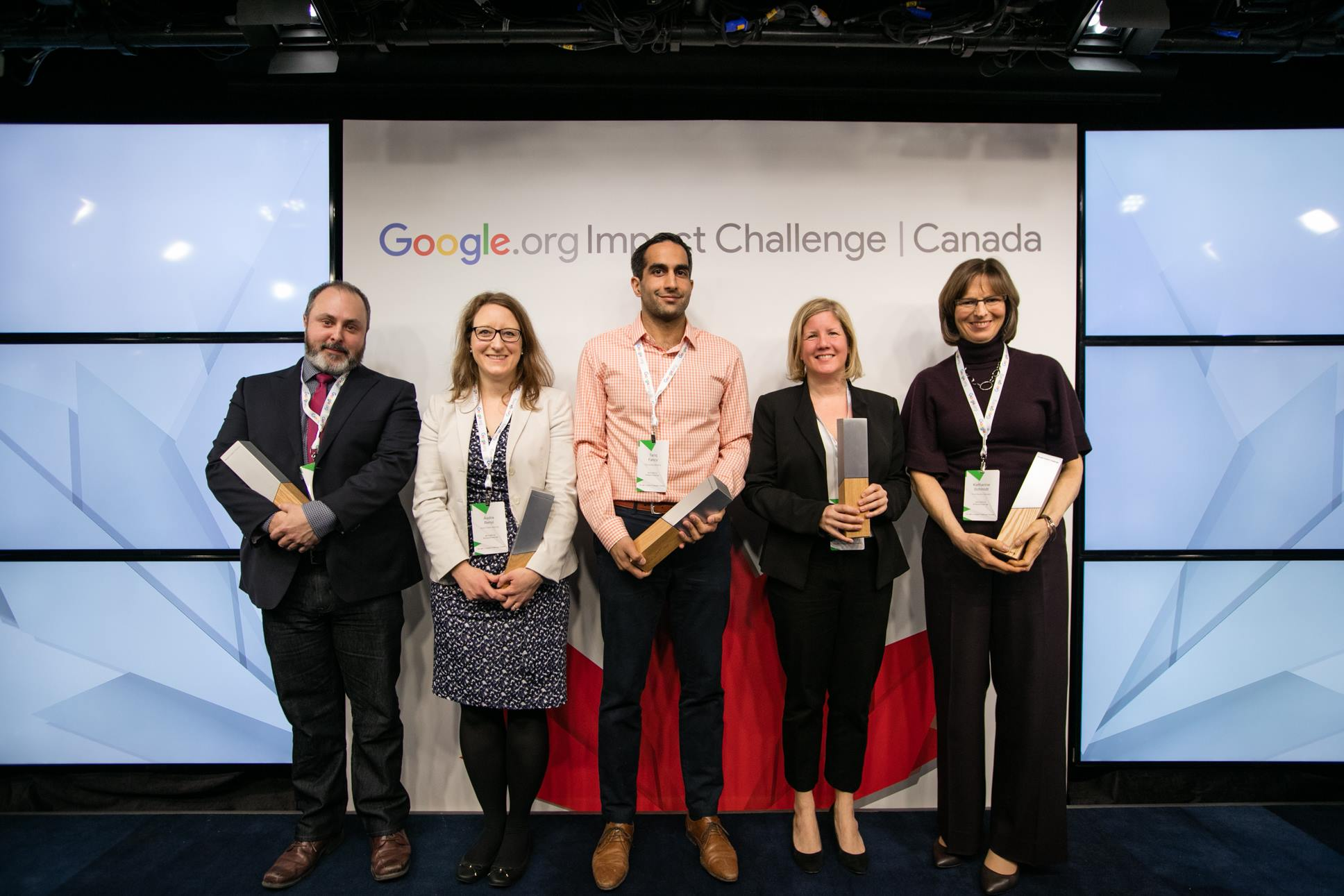 The five winners of the Google Impact Challenge; Renee Black of PeaceGeeks is second from right (Google Canada/Facebook)