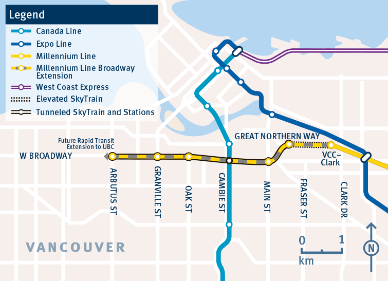Map Of Canada Line Vancouver.These Are The 6 Stations Of The Broadway Subway In Vancouver