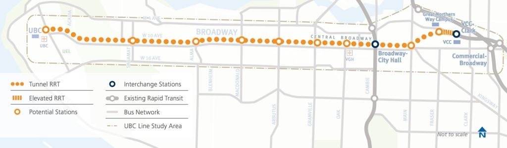 Broadway Subway Map.These Are The 6 Stations Of The Broadway Subway In Vancouver