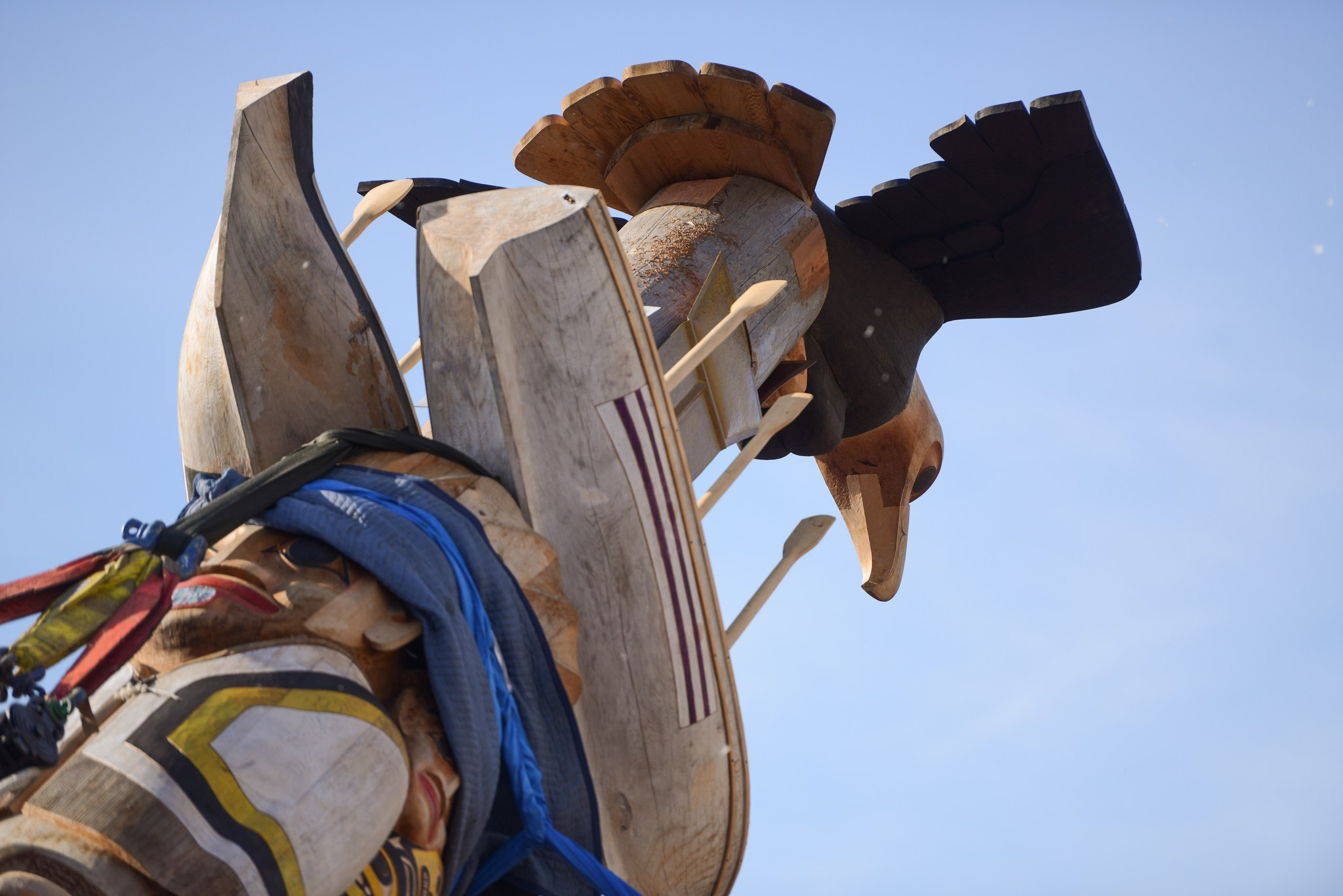 Depiction of an eagle atop the new Reconciliation Pole at UBC (Paul Joseph/UBC)
