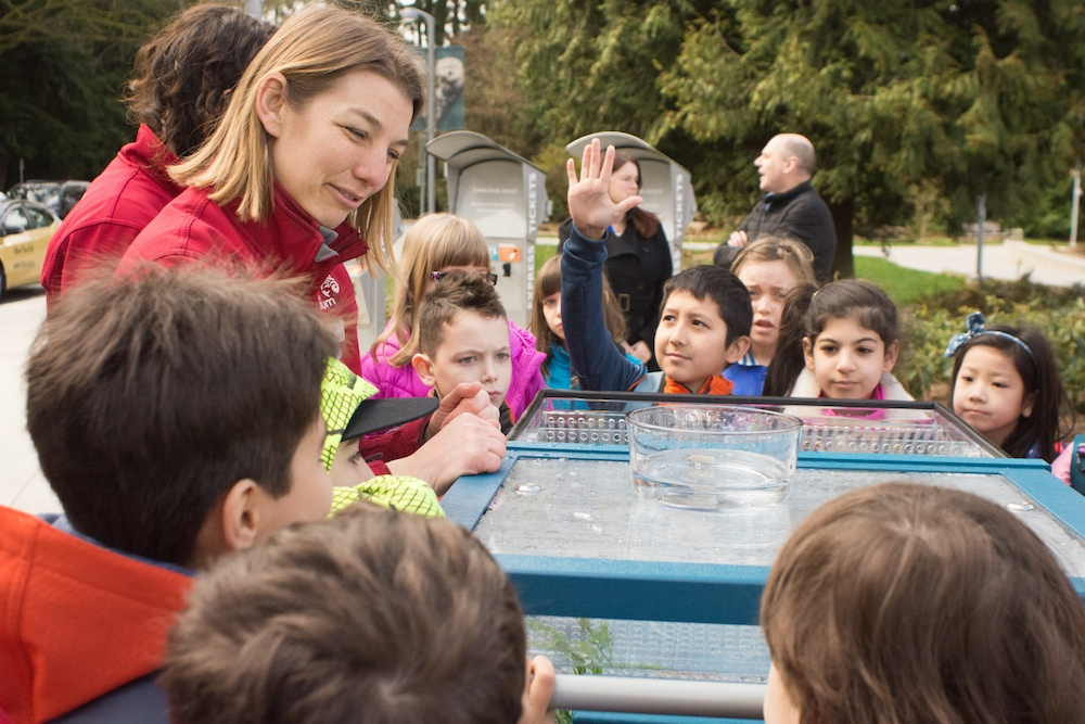 Students gathered around the touch tank (Vancouver Aquarium)