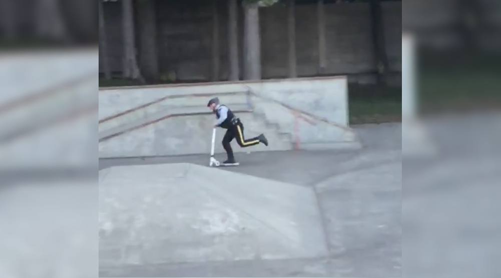 BC Mountie caught ripping around skatepark on scooter (VIDEO)