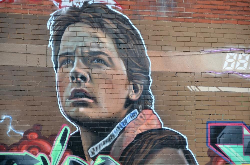 Michael J Fox painting in Montreal, Canada (Meunierd/Shutterstock)