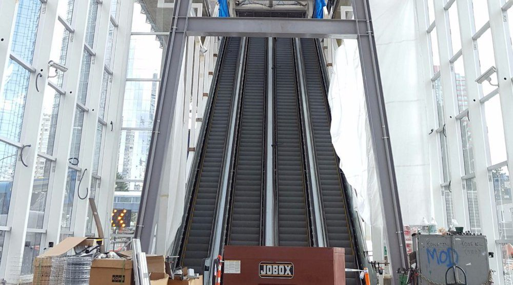 Metrotown Station's new escalators nearly as high as Granville Station escalators