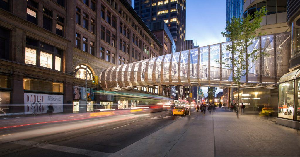 Eaton Centre, pedestrian bridge, Queen Street