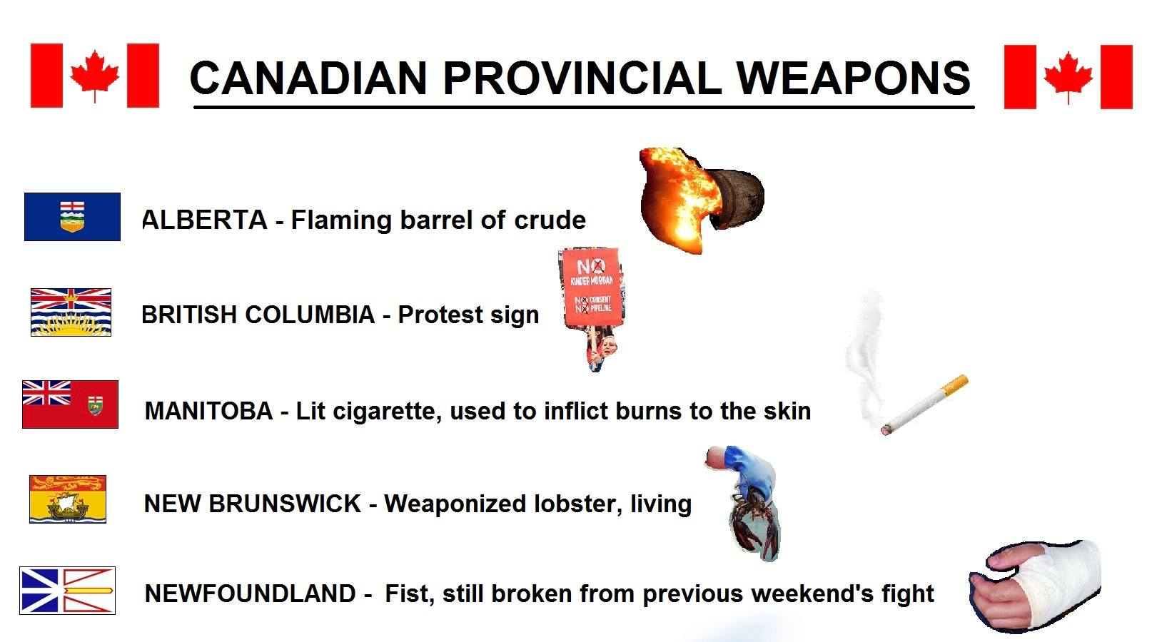 "Canadian radio hosts create hilarious list of ""Provincial Weapons"""