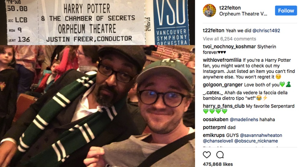 Tom Felton (AKA Draco Malfoy) snaps selfie at Harry Potter concert in Vancouver