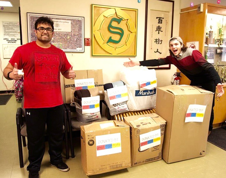 YNOTFORTOTS co-founder Mohit Sodhi with VP External of their UBC Branch, William Matous, at Lord Strathcona Elementary (YNOTFORTOTS)