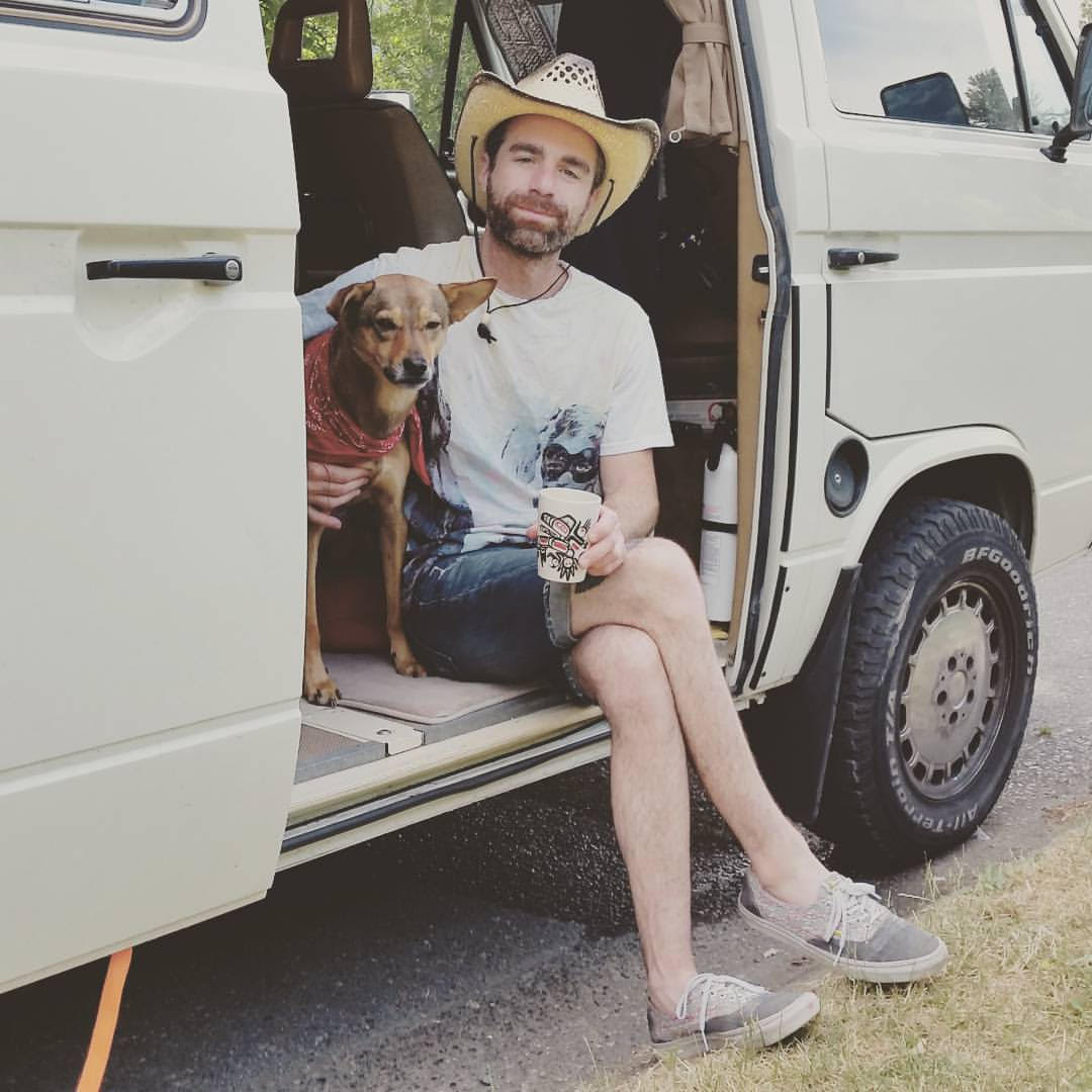 Eliot Galan and his dog Lucy, when they were living in a van due to lack of pet-friendly housing (Eliot Galan)