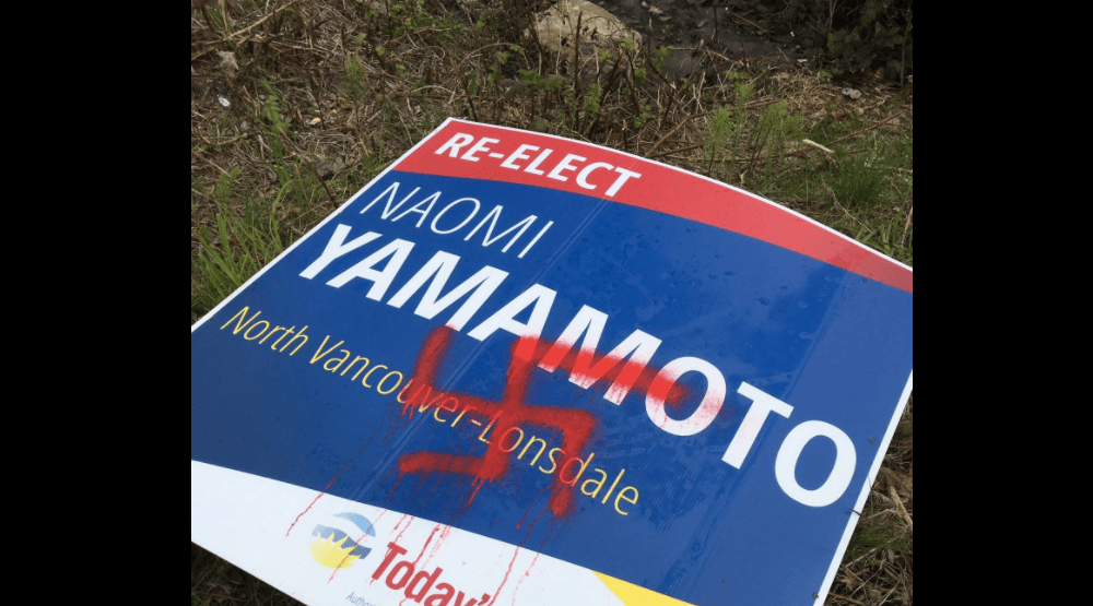 BC Liberal candidate sign defaced with racist graffiti