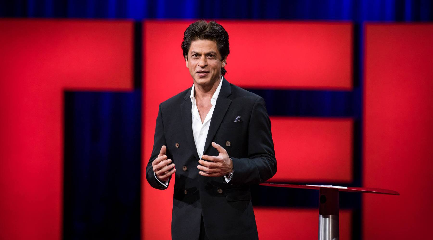 Bollywood star shah rukh khan giving his ted talk in vancouver ted