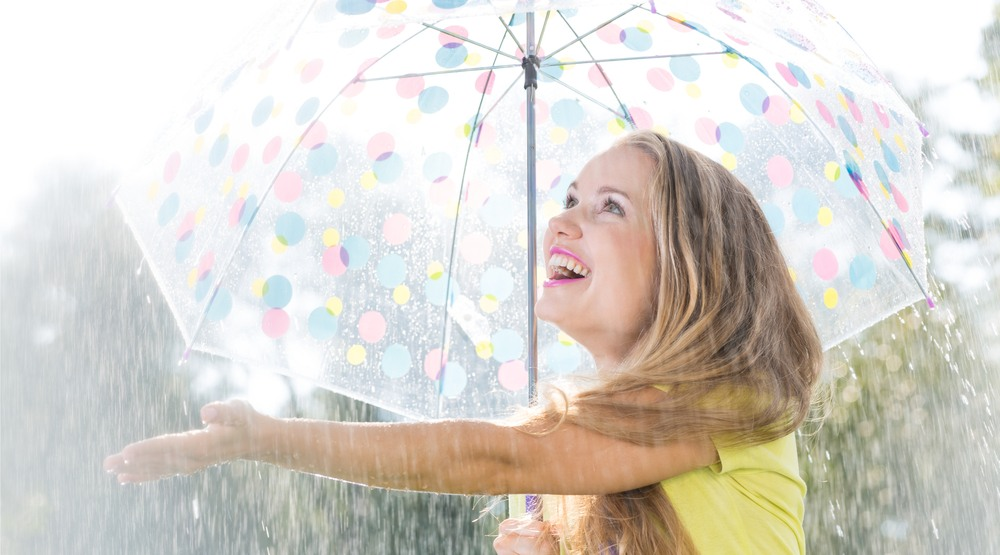 Woman in the rain and sun shutterstock