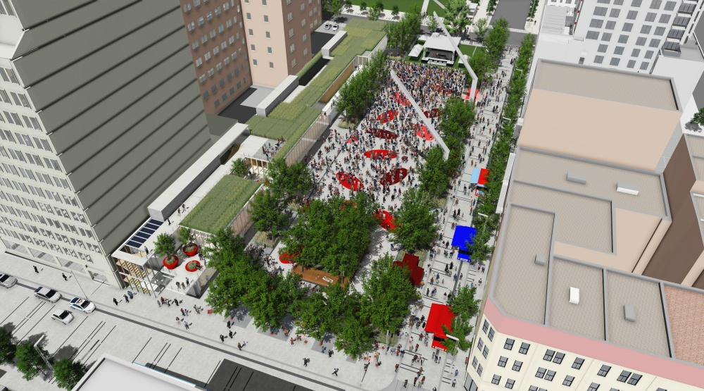 A huge $67-million outdoor public space is being built in downtown Montreal