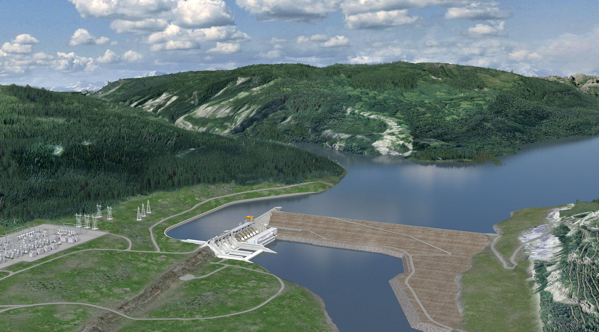 A rendering of the site c dam bc hydro
