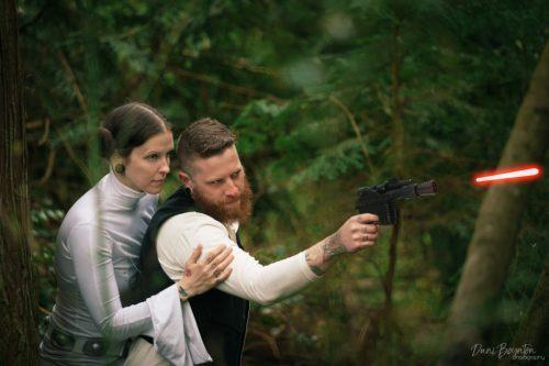 Lindsey and TJ Gibson dressed up as Princess Leia and Han Solo for their pre-wedding photoshoot (Dani Boynton Photography)