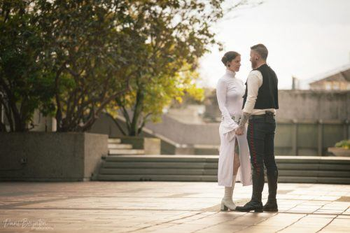 Lindsey and TJ Gibson dressed up as Princess Leia and Han Solo for their pre-wedding photoshoot (Dani Boynton Photography)