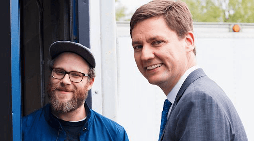 Seth Rogen stops for selfie with NDP candidate David Eby