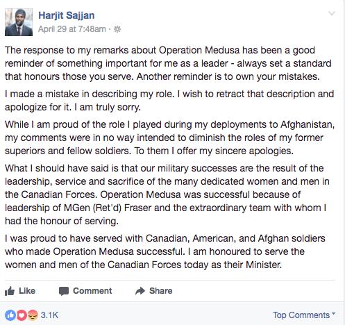 Harjit Sajjan made an apology on Facebook (Harjit Sajjan/ Facebook)