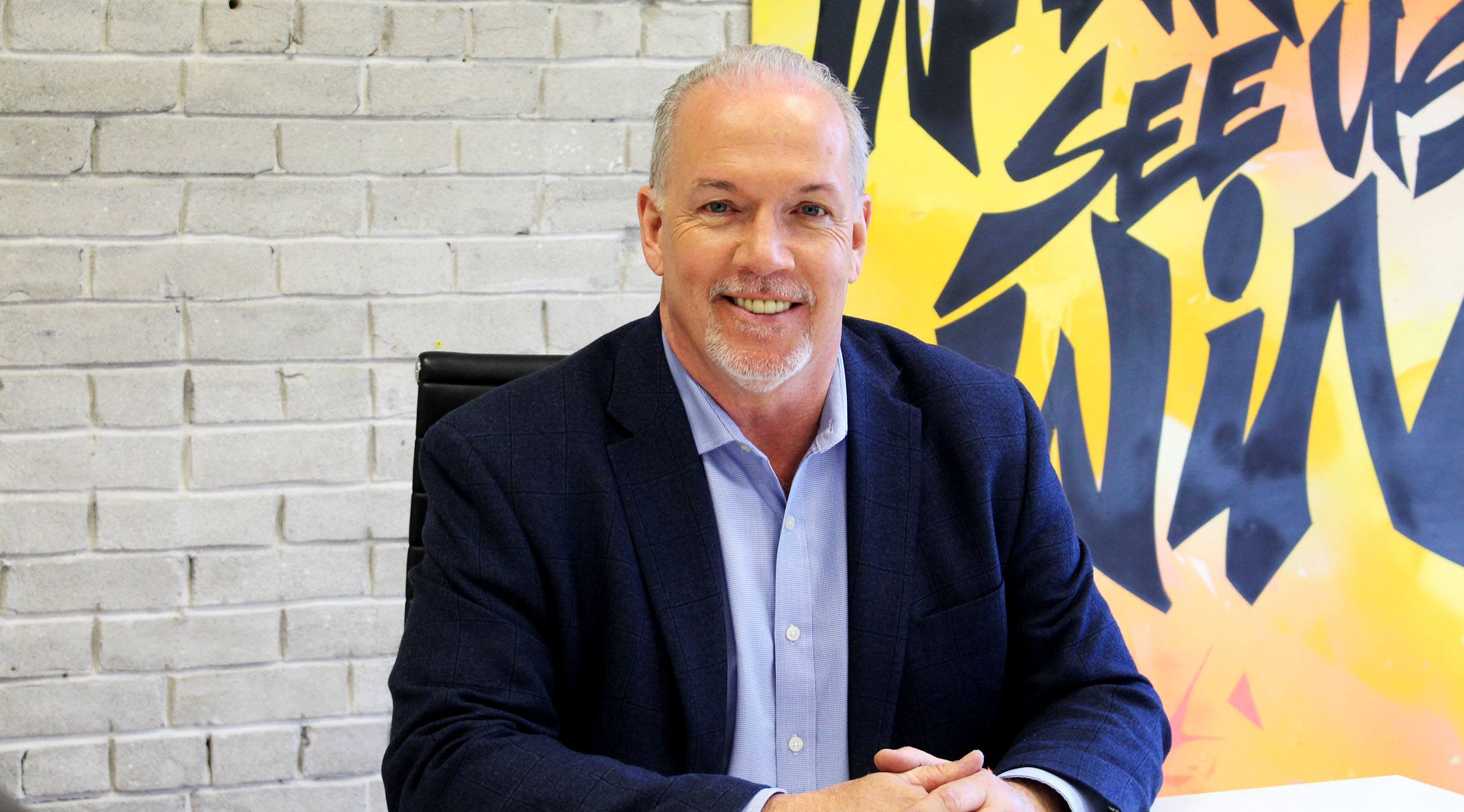 John horgan at the daily hive office lindsay william ross daily hive