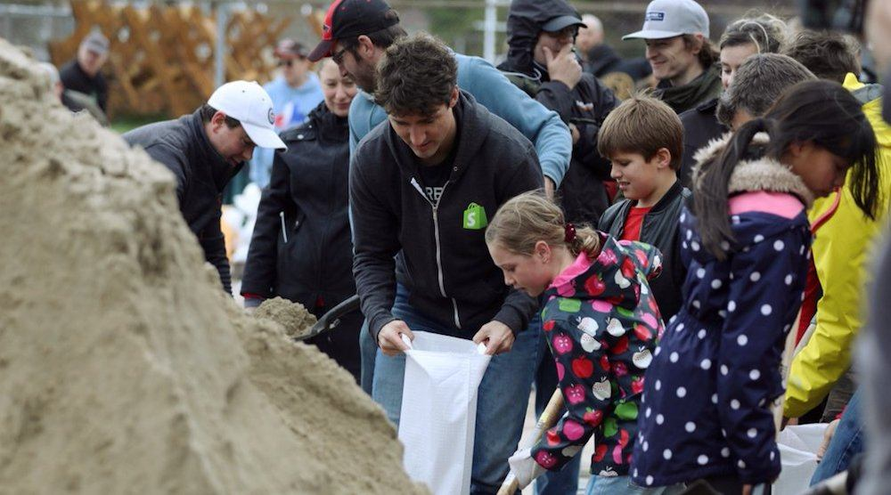 Justin Trudeau helped a flooded Quebec community over the weekend