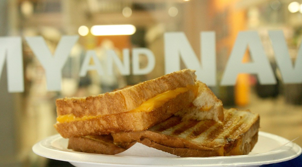 There is a cafeteria inside Army and Navy where grilled cheese sandwiches are $1.75