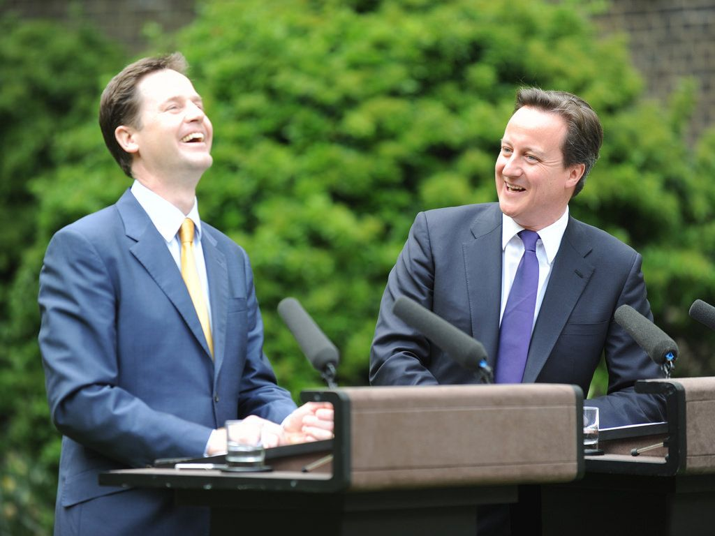 UK Liberal Democrat leader Nick Clegg and UK Conservative party leader David Cameron announcing their coalition government back in 2010 in the Rose Garden outside Downing Street (Prime Minister's Office/Flickr)