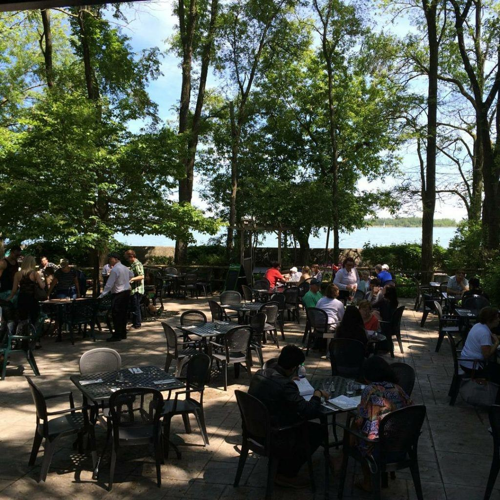 The Rectory Cafe waterfront patio island