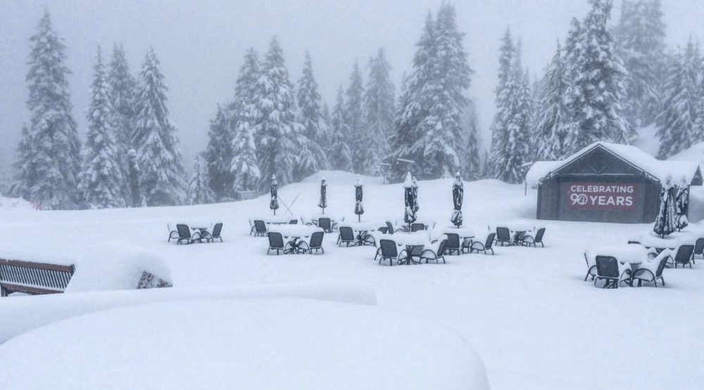 Snow on Grouse Mountain in May keeps skiing and snowboarding open