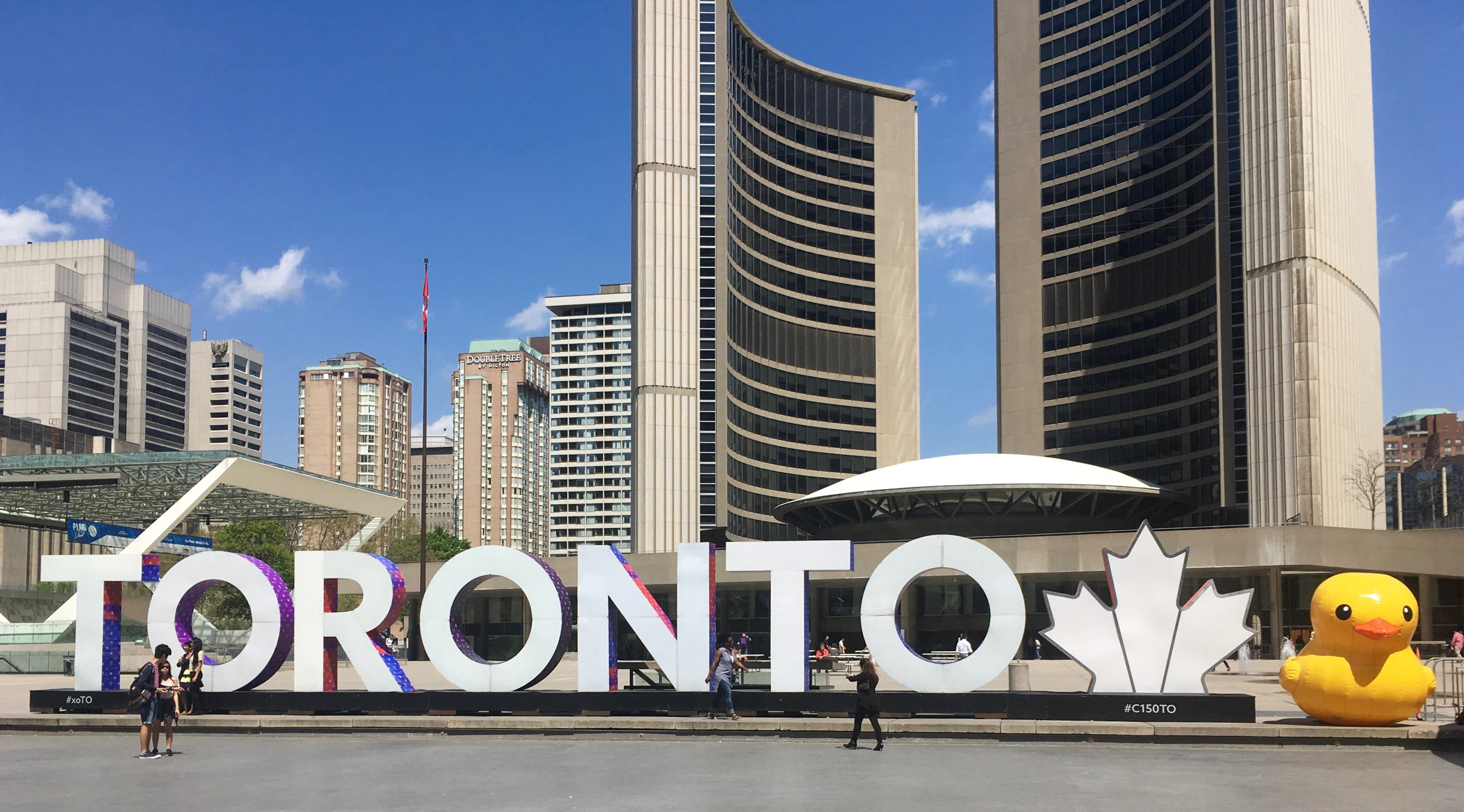 There is a giant rubber duck beside the Toronto sign right now (PHOTOS)