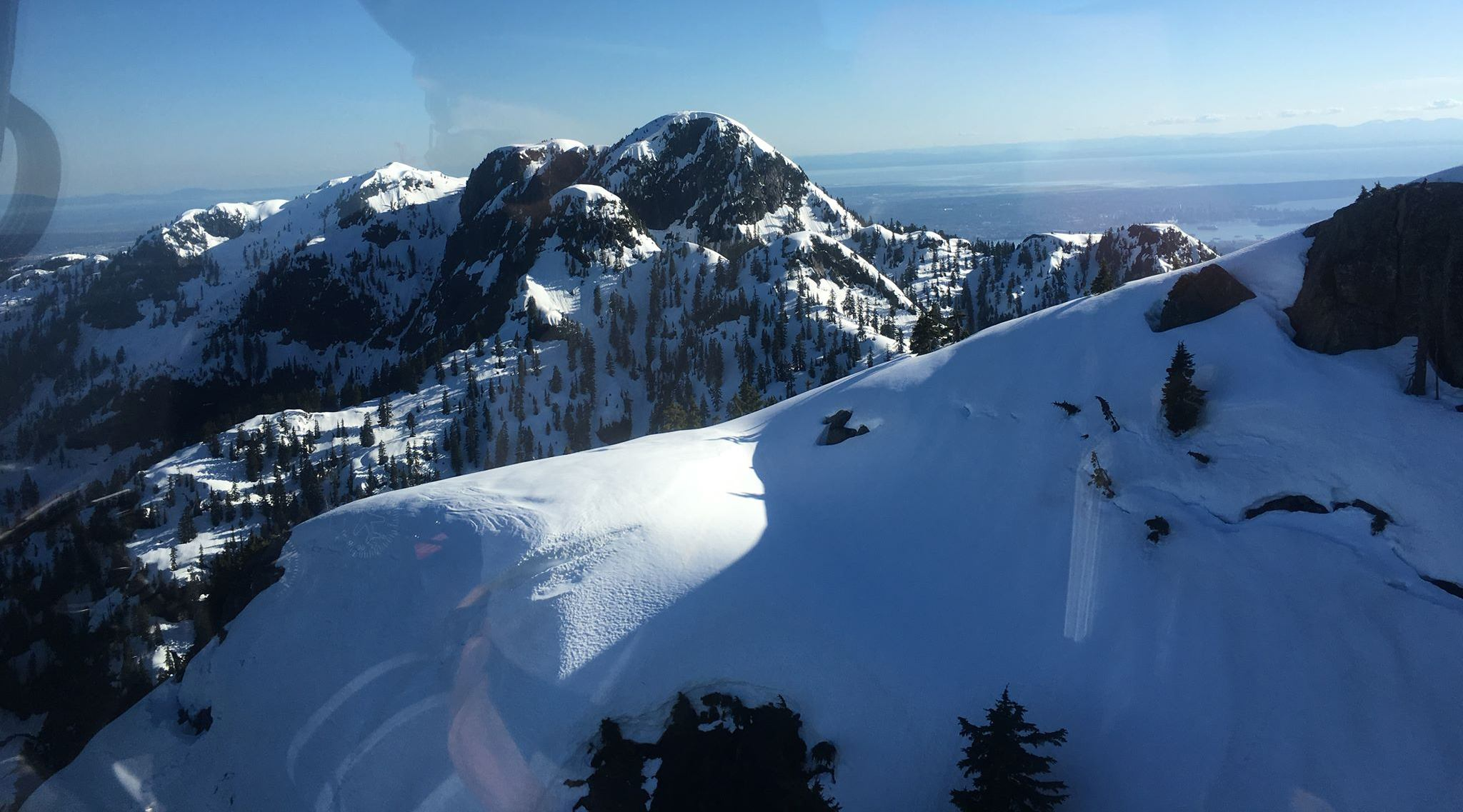 The view from the NSR helicopter during their rescue on Mt. Seymour (North Shore Rescue/Facebook)