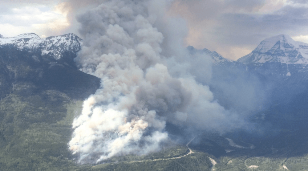 Out of control wildfire burning near Mount Robson Provincial Park