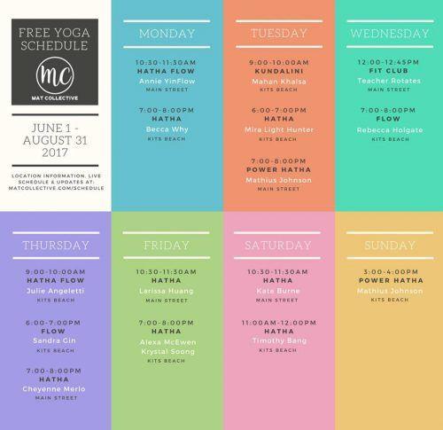Mat Collective yoga schedule (Mat Collective/ Facebook)