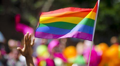 Pride flag at a Pride Parade (lazyllama/Shutterstock)