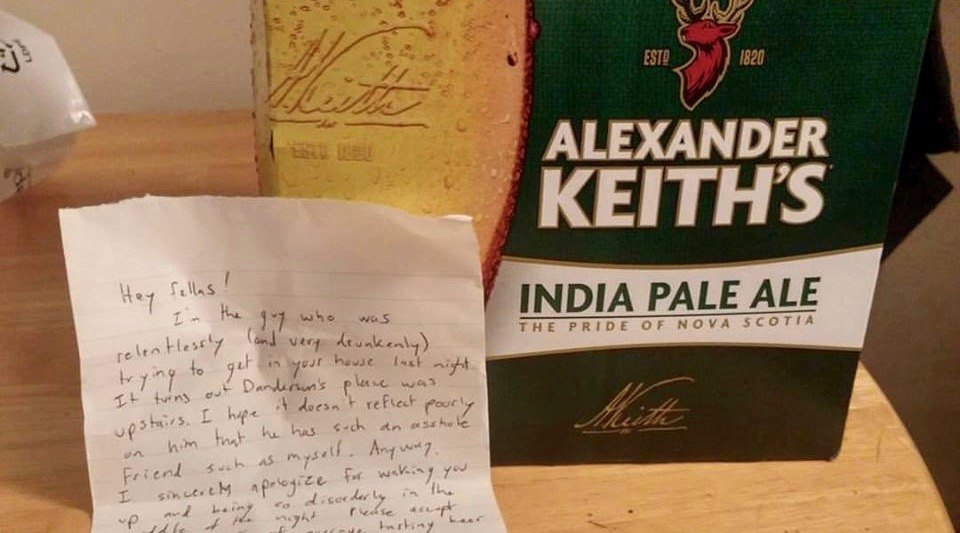 Canadian tries breaking into wrong house, leaves beer and apology behind