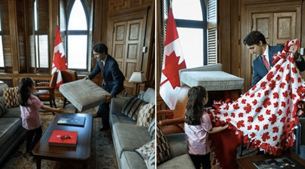 Justin Trudeau helping a little girl build a pillow fort is all kinds of adorable (PHOTOS)