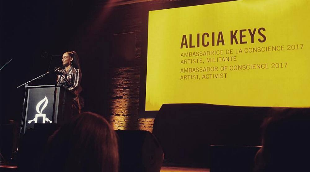 Alicia Keys was honoured by Amnesty International in Montreal this past weekend